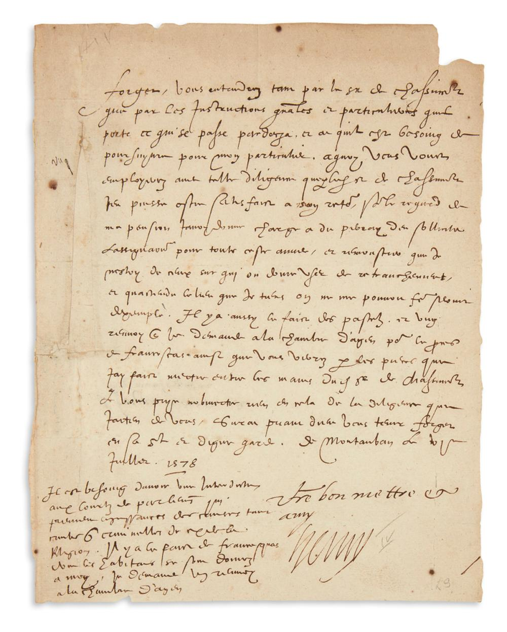 "HENRI IV; KING OF FRANCE. Letter Signed, ""Henry,"" to ""Focyer[?],"" concerning passports, in French."
