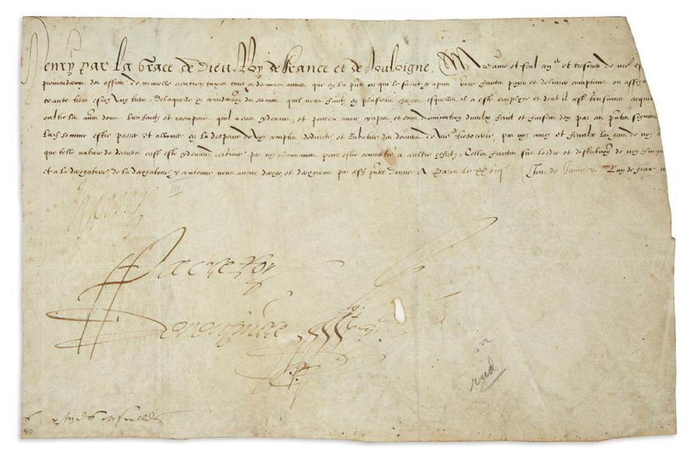 "HENRI III; KING OF FRANCE. Vellum Document Signed, ""Henry,"" in French,"