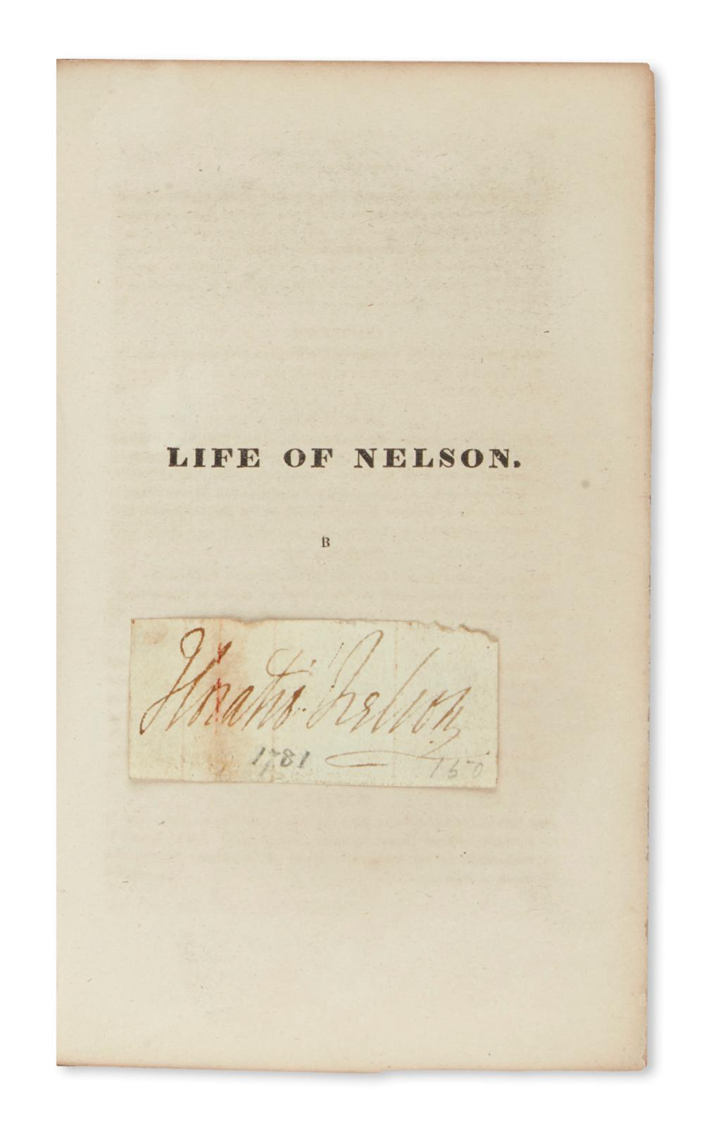 NELSON, HORATIO. Clipped Signature, mounted to half-title of Robert Southey's Life of Nelson.