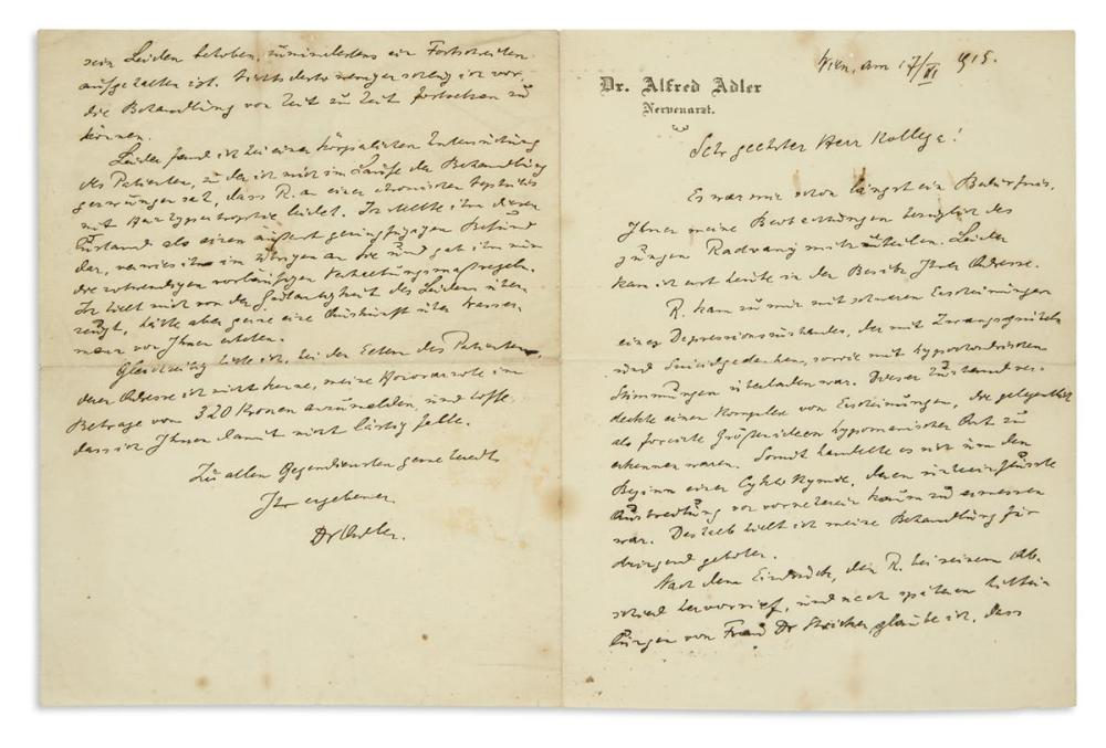 "(SCIENTISTS.) ADLER, ALFRED. Autograph Letter Signed, ""Dr Adler,"" to ""Esteemed Colleague,"" in German,"