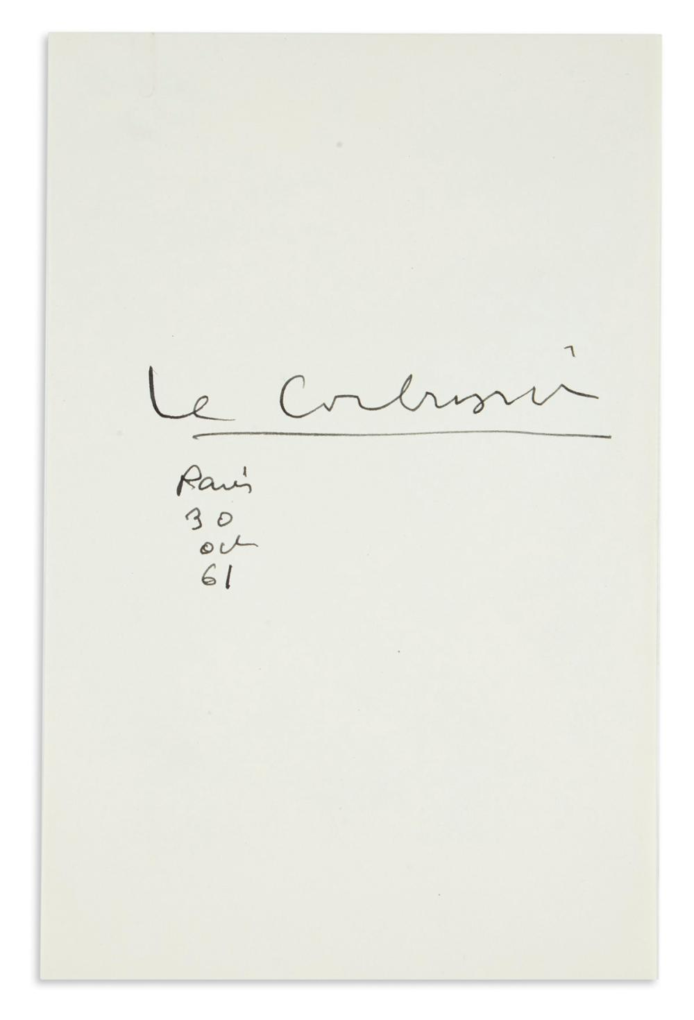 LE CORBUSIER. Signature and date on a slip of paper.