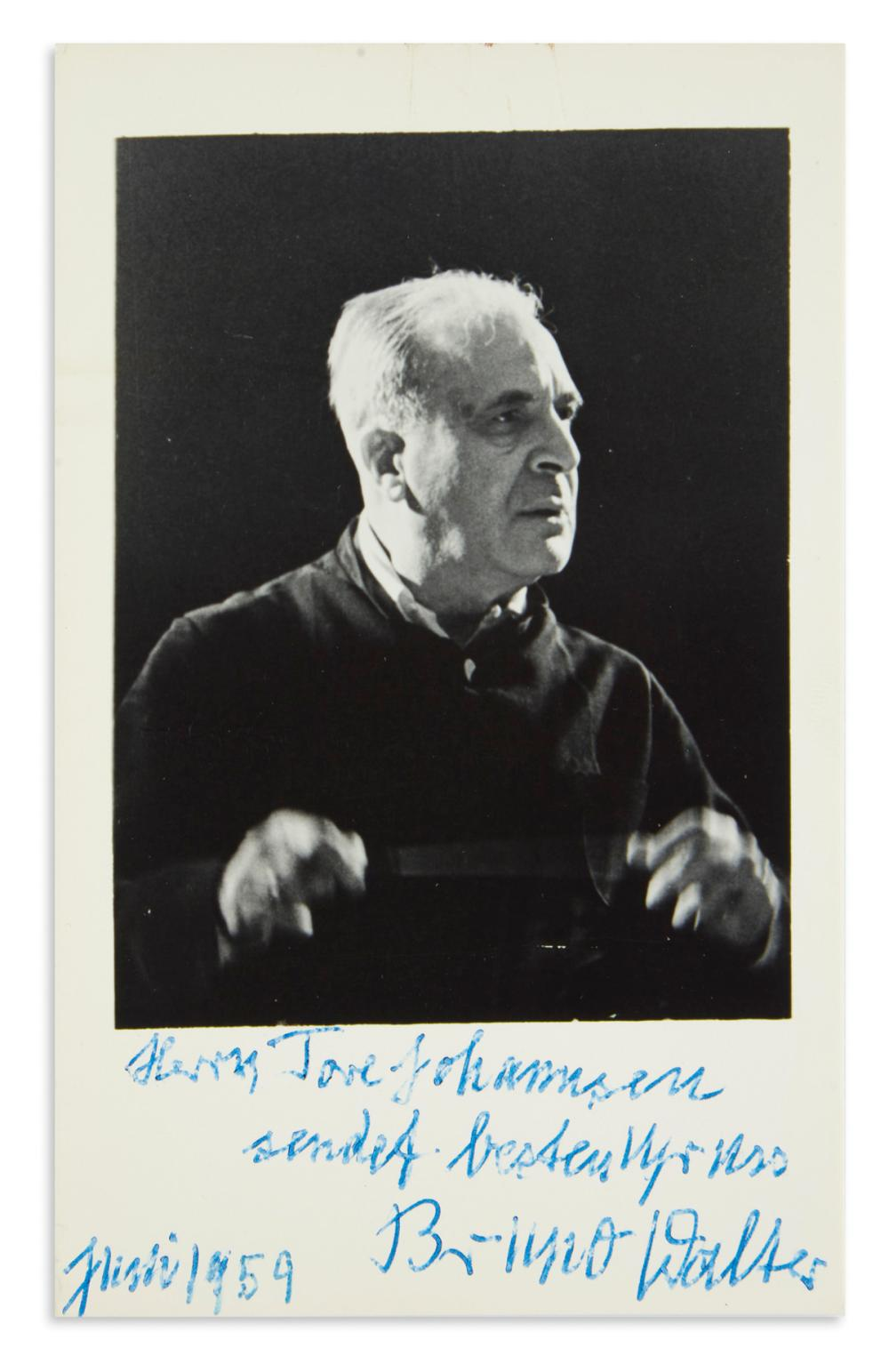 "WALTER, BRUNO. Photograph Signed and Inscribed, ""Mr. Tore Johannsen / sending best regards,"" in German,"