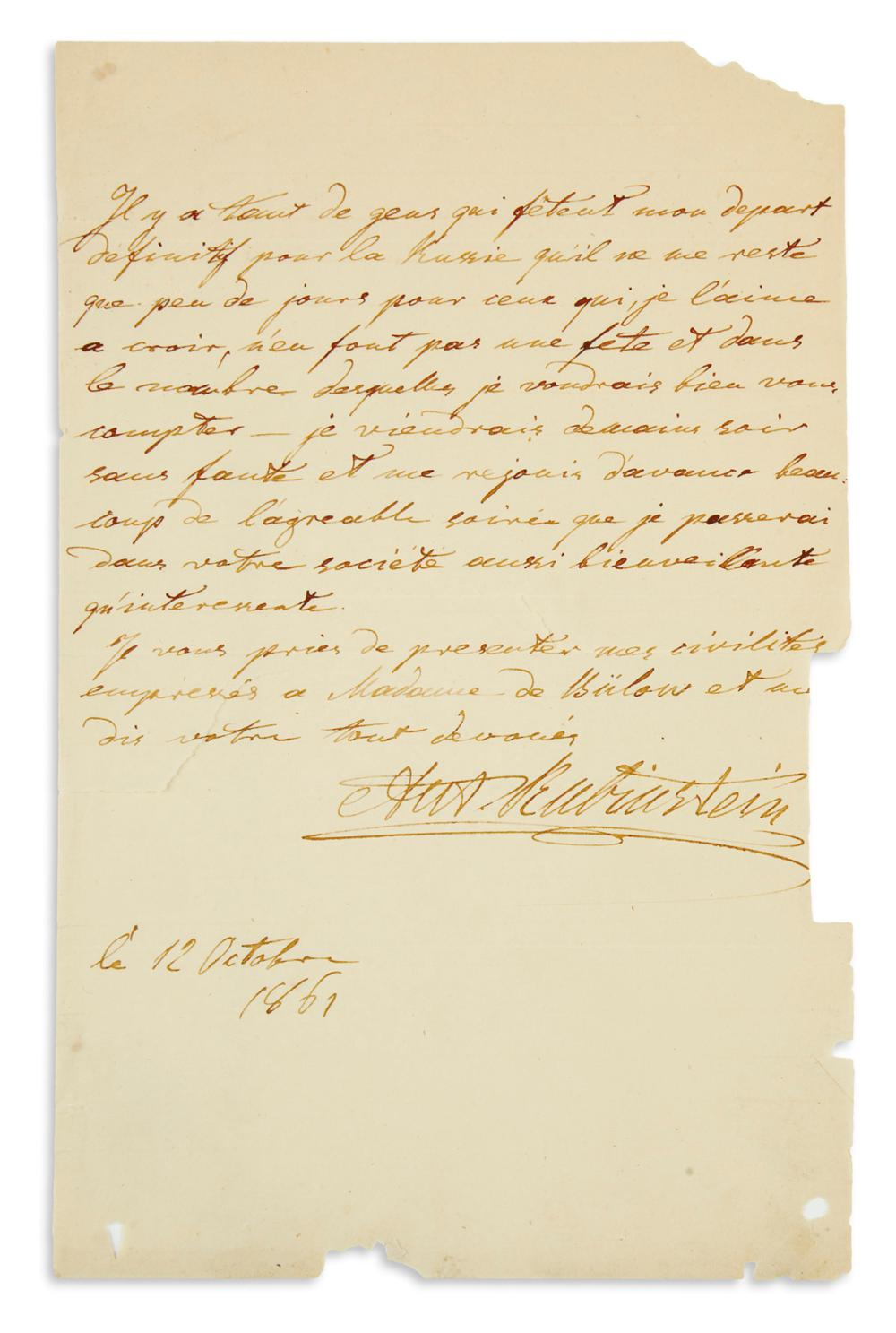 "RUBINSTEIN, ANTON. Autograph Letter Signed, ""Ant. Rubinstein,"" to an unnamed recipient (lacking salutation), in French,"