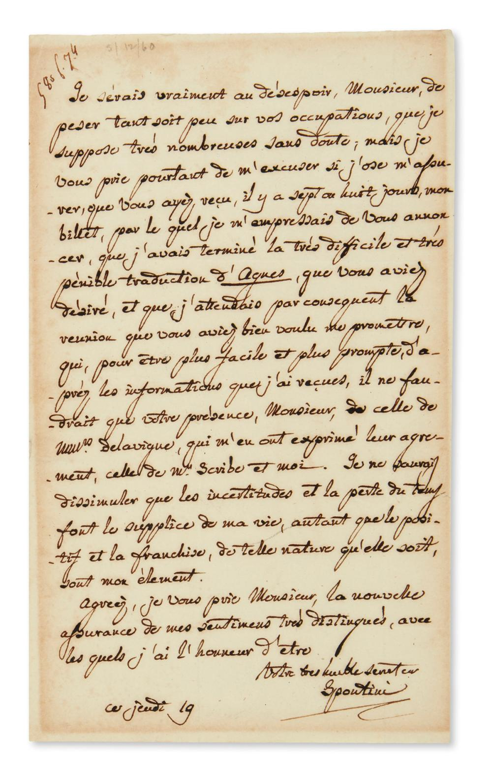 "SPONTINI, GASPARE. Autograph Letter Signed, ""Spontini,"" to Director of the Royal Academy of Music Émile Timothée Lubbert, in French,"