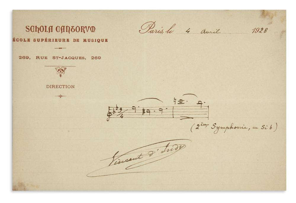 INDY, VINCENT DE. Autograph Musical Quotation dated and Signed, 2 bars from his Symphony No. 2 in B flat,