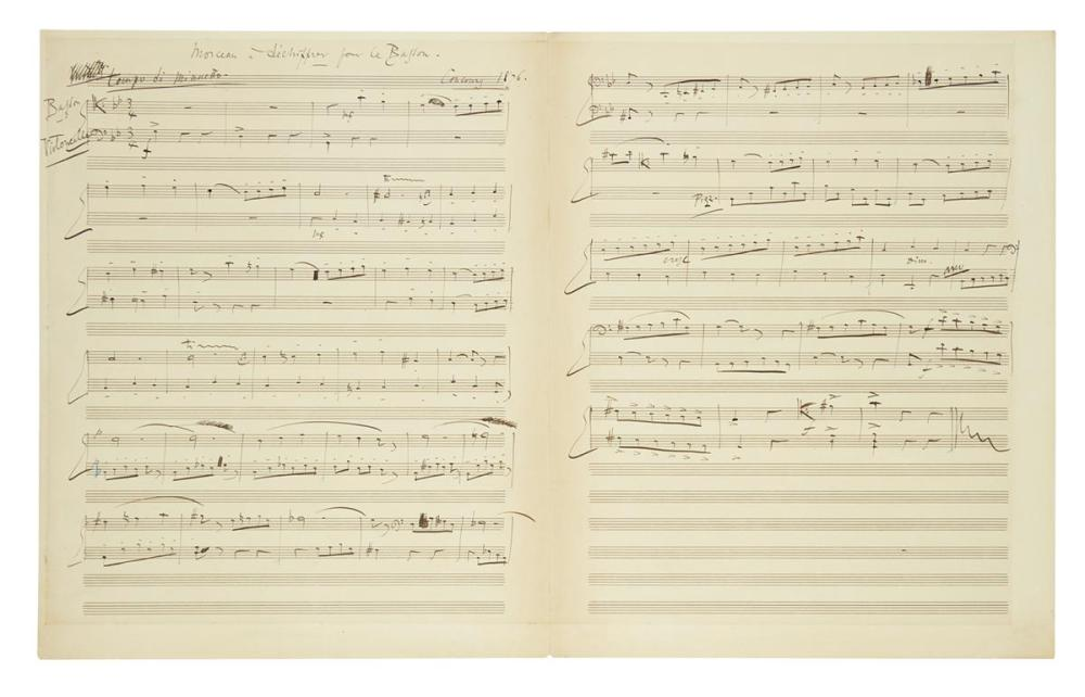 "DELIBES, LÉO. Autograph Musical Manuscript dated and Signed, working draft of a work for bassoon and cello (""Morceau à déchiffrer pour"