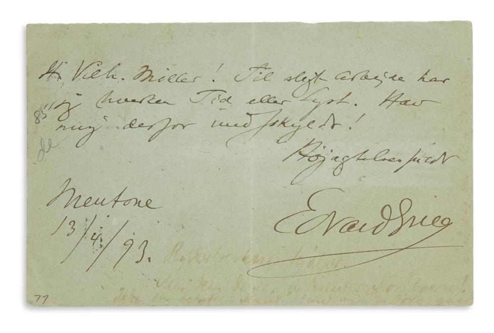 GRIEG, EDVARD. Autograph Note Signed, on a postcard, to Editor Vilhelm Møller,