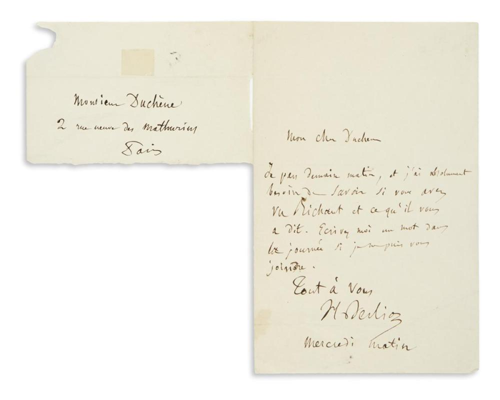 "BERLIOZ, HECTOR. Autograph Letter Signed, ""H Berlioz,"" to Adolphe Duchène de Vère (""My dear Duchène""), in French,"