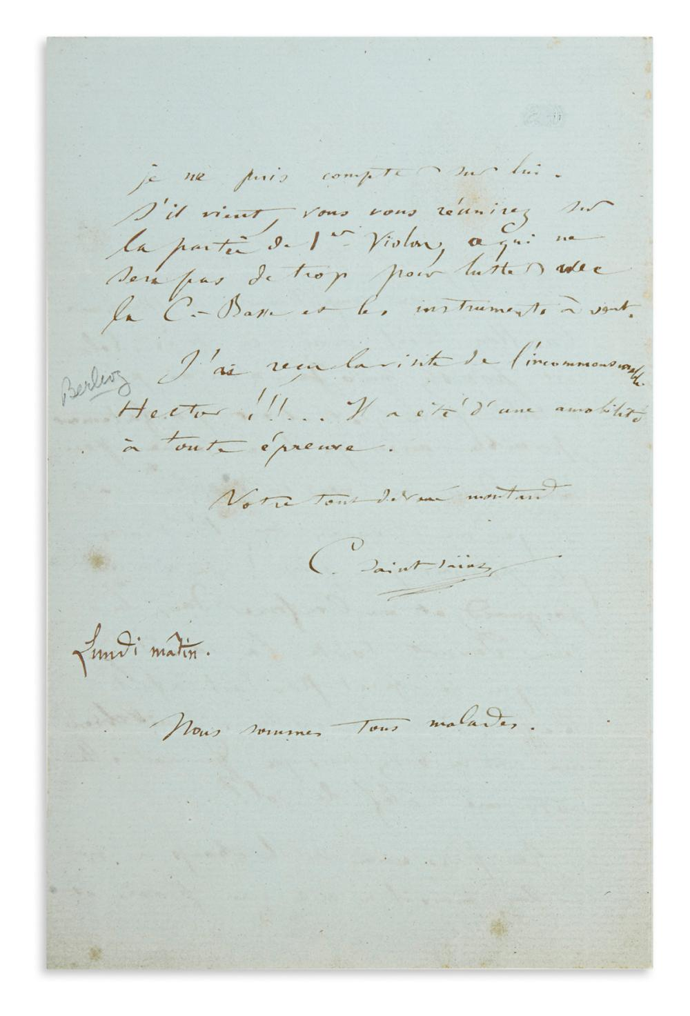 "SAINT-SAËNS, CAMILLE. Autograph Letter Signed, ""CSaint-Saëns,"" to an unnamed violinist, in French,"