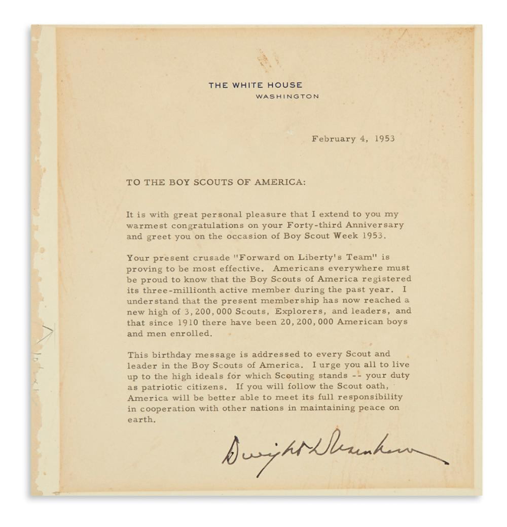 "EISENHOWER, DWIGHT D. Typed Letter Signed, as President, to ""the Boy Scouts of America,"""