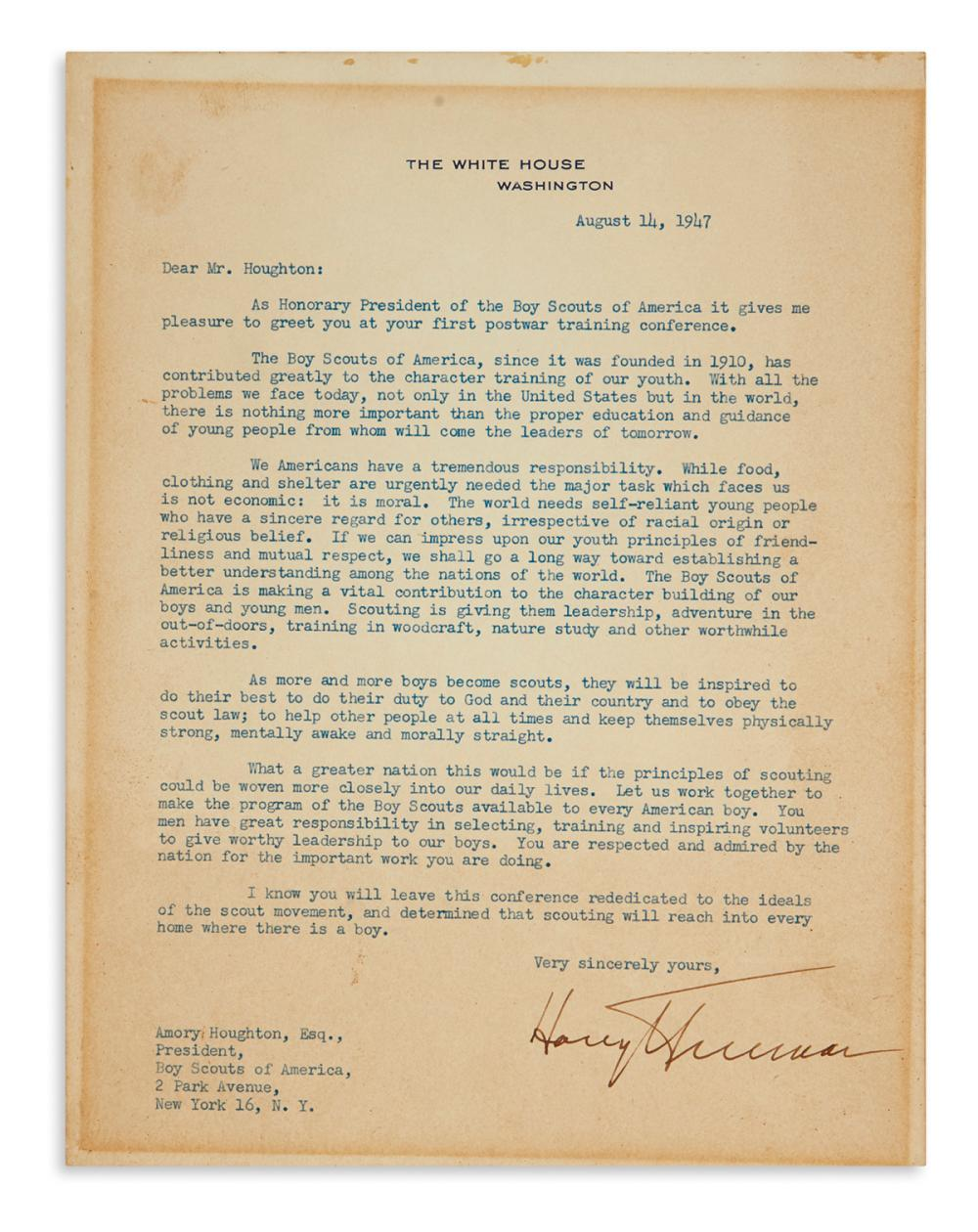 TRUMAN, HARRY S. Typed Letter Signed, as President, to President of the Boy Scouts of America Amory Houghton,