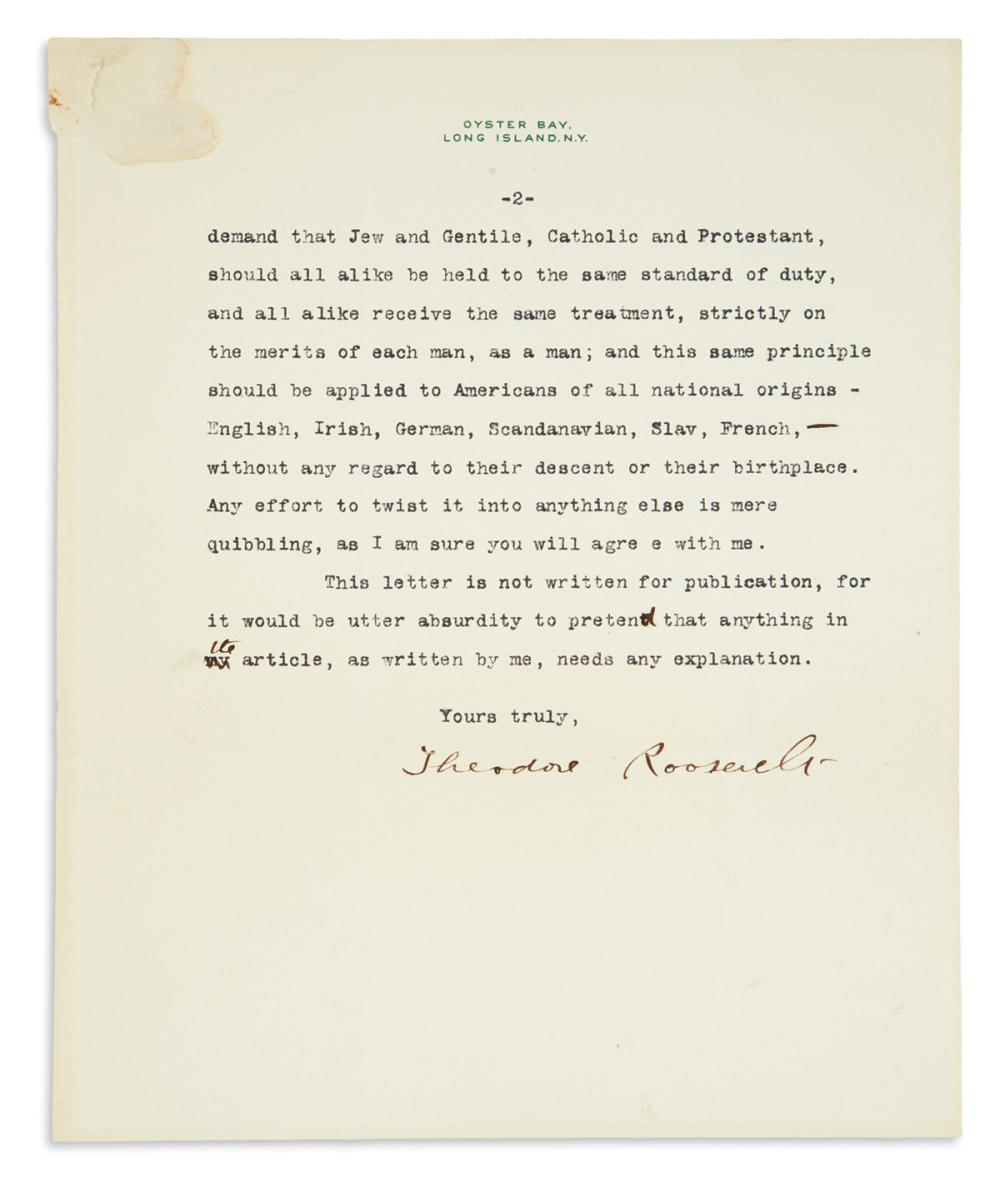 ROOSEVELT, THEODORE. Typed Letter Signed, to journalist and author Herman Bernstein, with 3 holograph emendations,