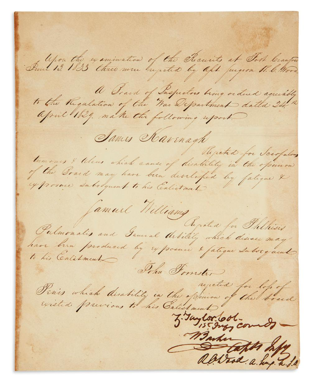"TAYLOR, ZACHARY. Document Signed, ""Z. Taylor. Col. / 1st Inf'y Comd'g,"""