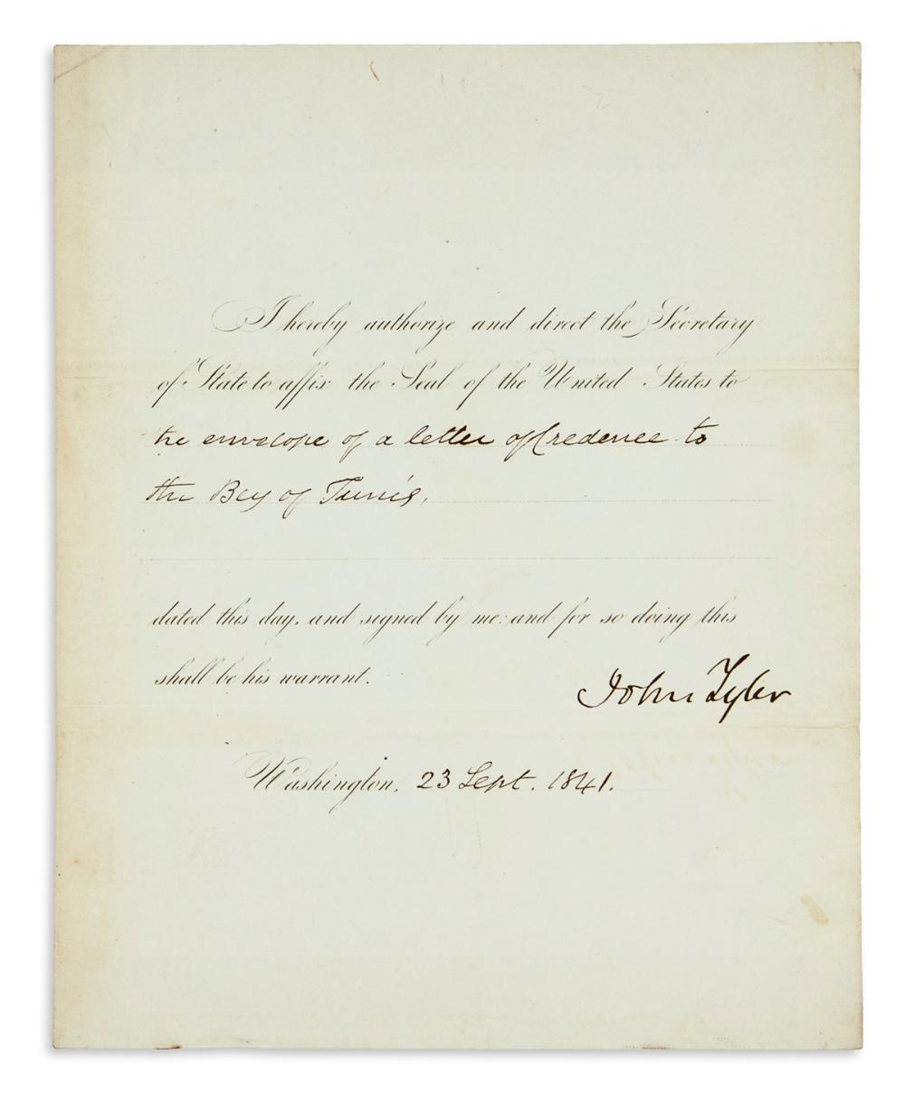 TYLER, JOHN. Partly-printed Document Signed, as President,