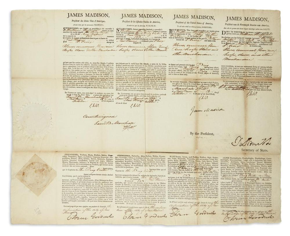 MADISON, JAMES. Partly-printed Document Signed, as President,