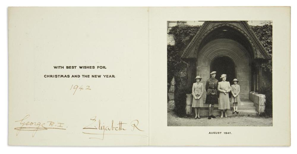 "GEORGE VI; AND ELIZABETH; KING AND QUEEN OF THE UK. Christmas card Signed by both, ""George R.I."" and ""Elizabeth R,"""