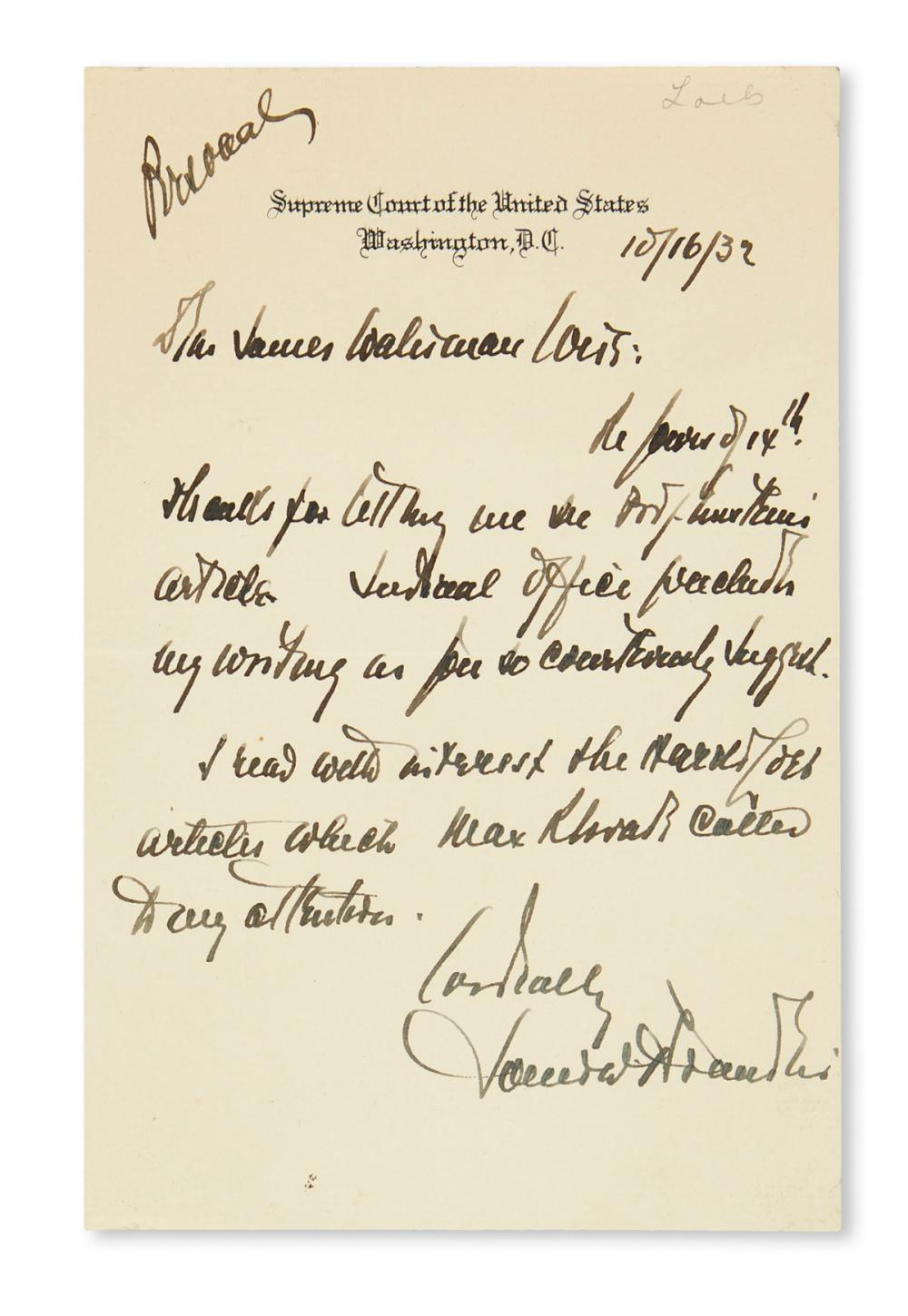 BRANDEIS, LOUIS D. Autograph Letter Signed, to James W. Weis,