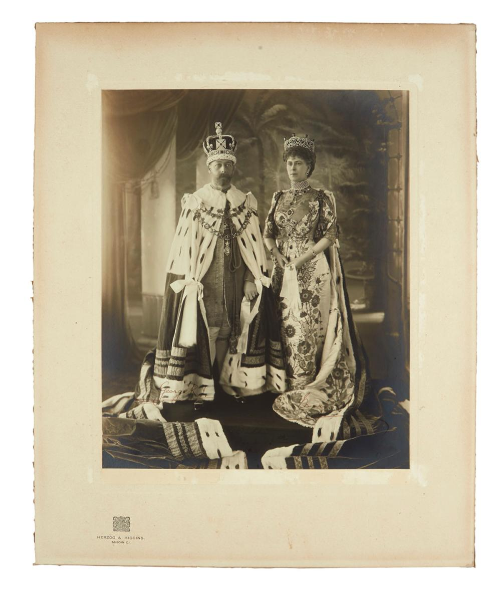 "GEORGE V; AND MARY; KING AND QUEEN OF THE UK. Large Photograph Signed, by both (""GeorgeR.I."" and ""Mary R""), gelatin silver print of a f"
