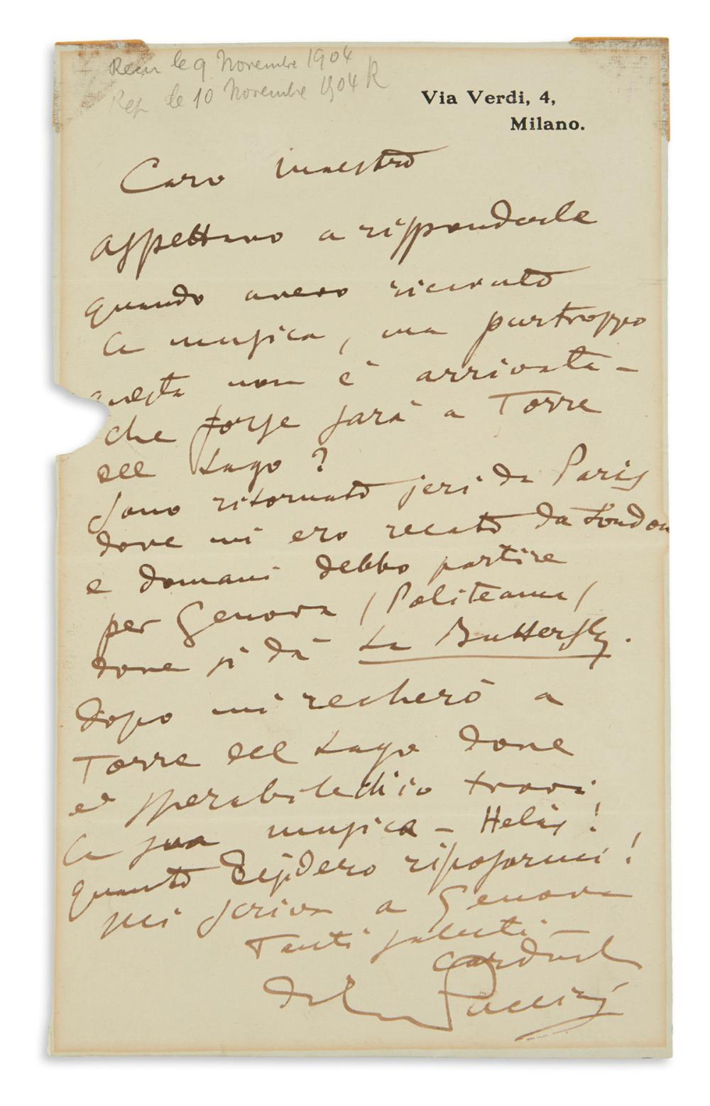 "PUCCINI, GIACOMO. Autograph Letter Signed, to Gaston Knosp (""Dear Maestro""), in Italian,"