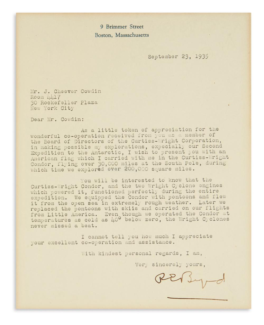 "BYRD, RICHARD E. Typed Letter Signed, ""REByrd,"" to American financier John Cheever Cowdin,"