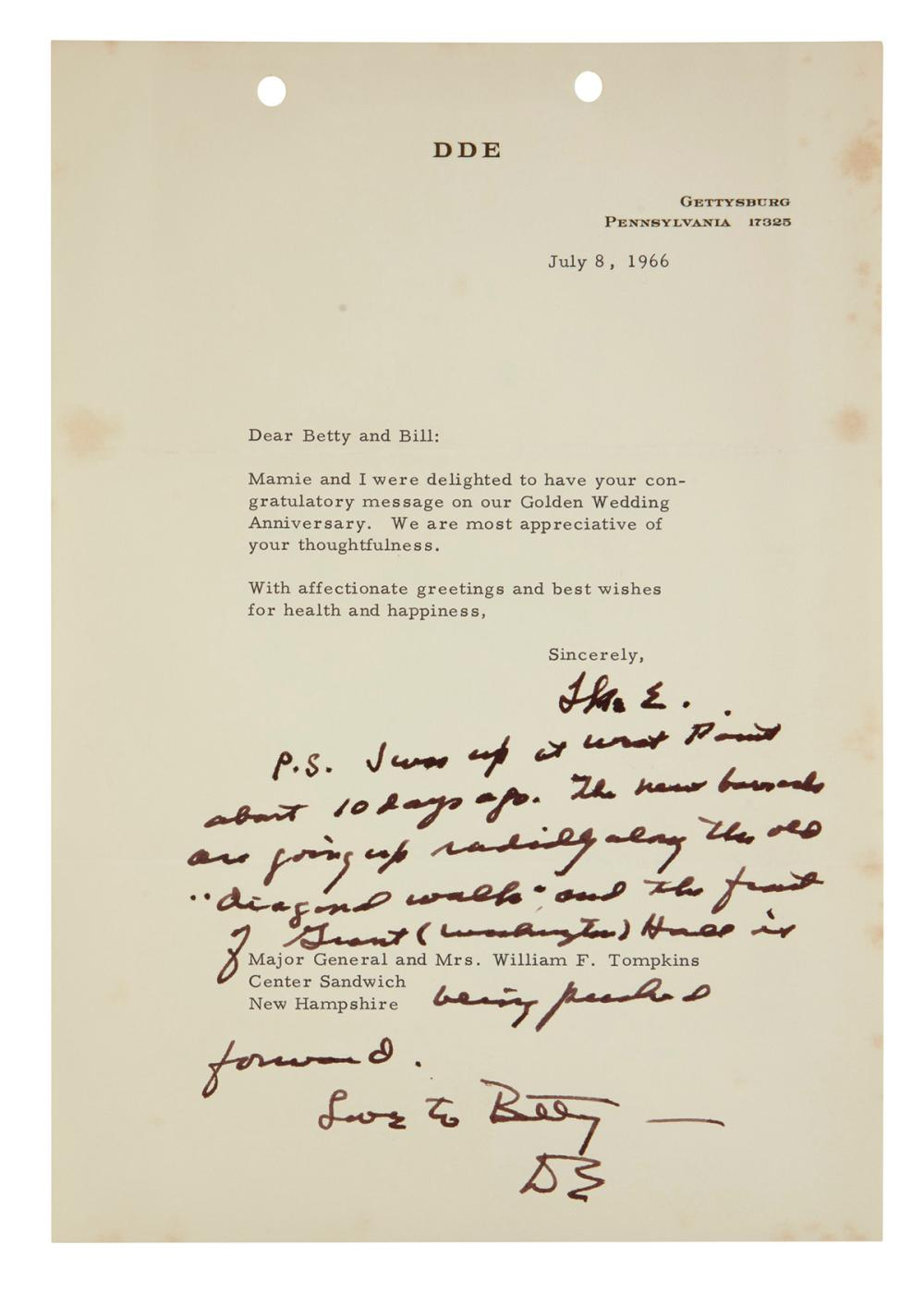 "EISENHOWER, DWIGHT D. Group of 4 Typed Letters Signed, ""Ike E,"" ""Ike,"" or ""DE,"" one as Supreme Allied Commander in Europe, to William F"