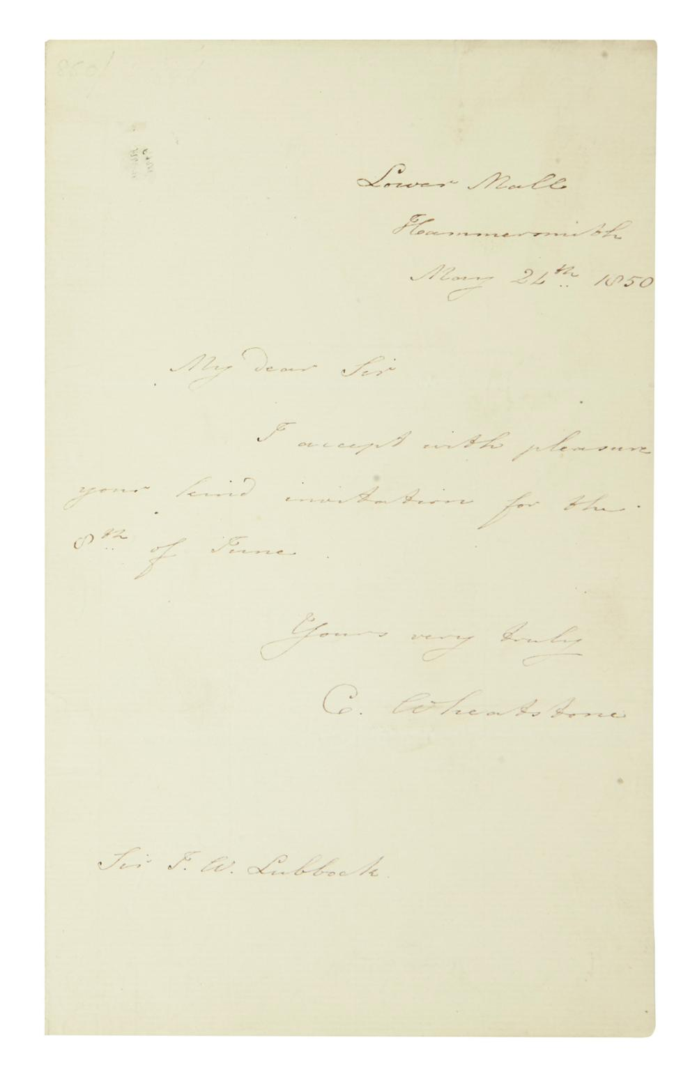 "(SCIENTISTS.) WHEATSTONE, CHARLES. Brief Autograph Letter Signed, ""C. Wheatstone,"" to John William Lubbock:"