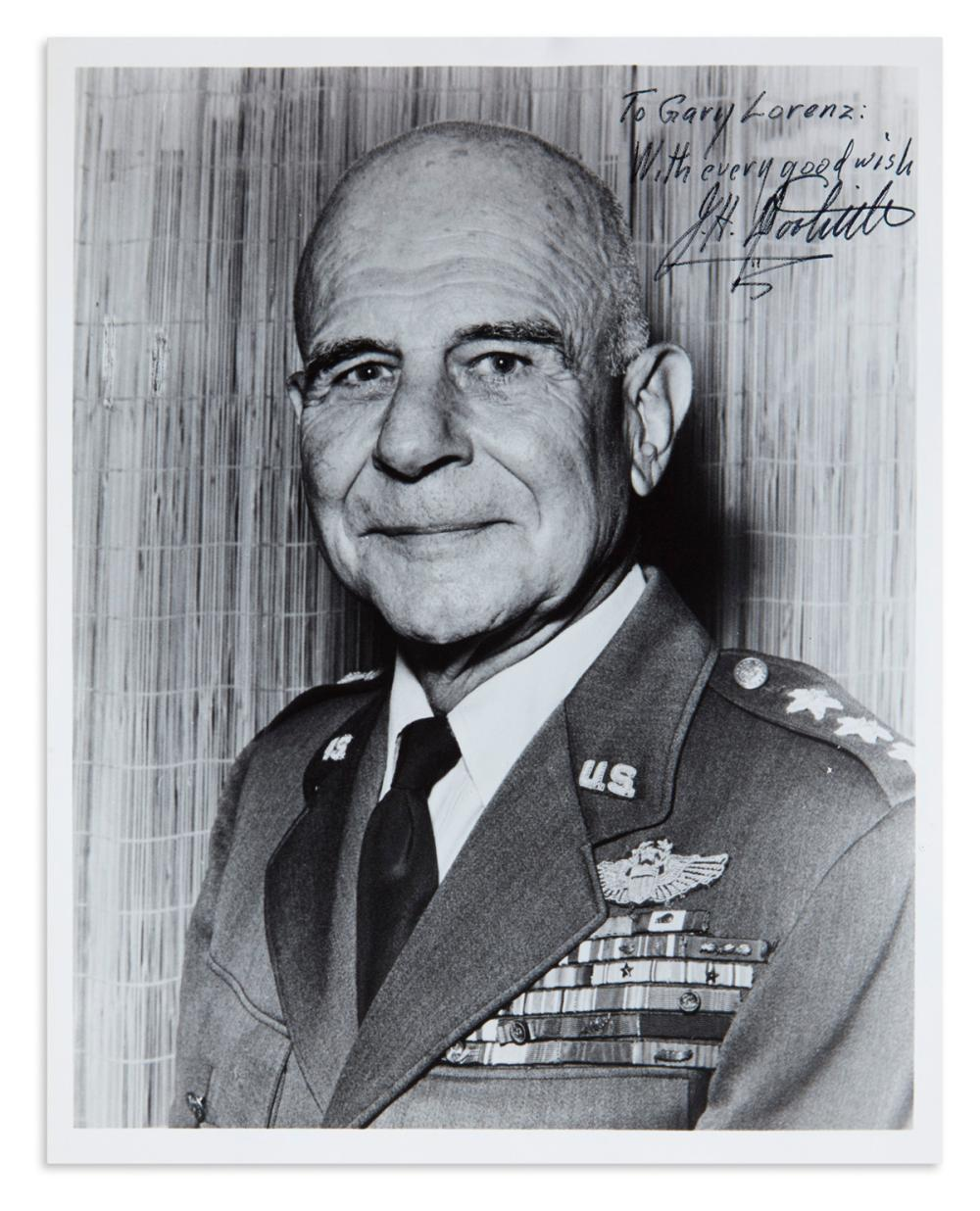 "(WORLD WAR II.) DOOLITTLE, JAMES H. Photograph Signed and Inscribed, ""To Gary Lorenz: / With every good wish / J.H. Doolittle,"""