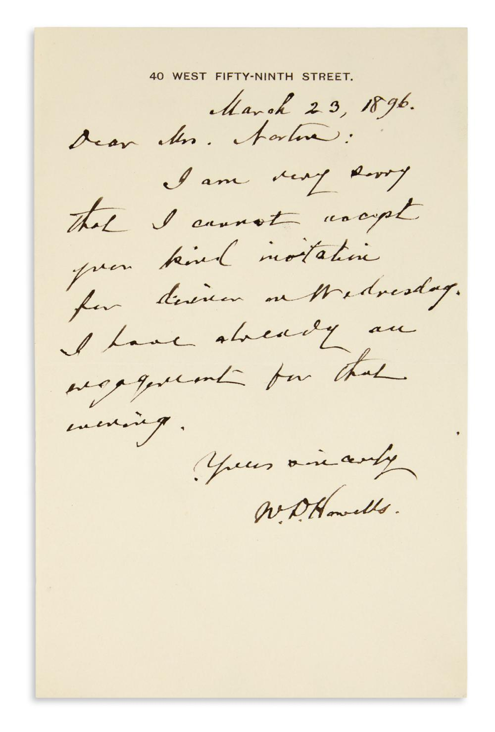 "HOWELLS, WILLIAM DEAN. Brief Autograph Letter Signed, ""W.D. Howells,"" to ""Dear Mrs. Norton,"""