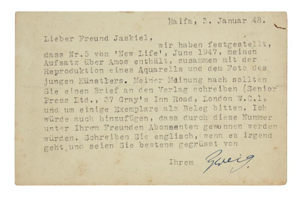 "ZWEIG, ARNOLD. Two Typed Letters Signed, ""Zweig,"" to Abraham Yaskil, in German."