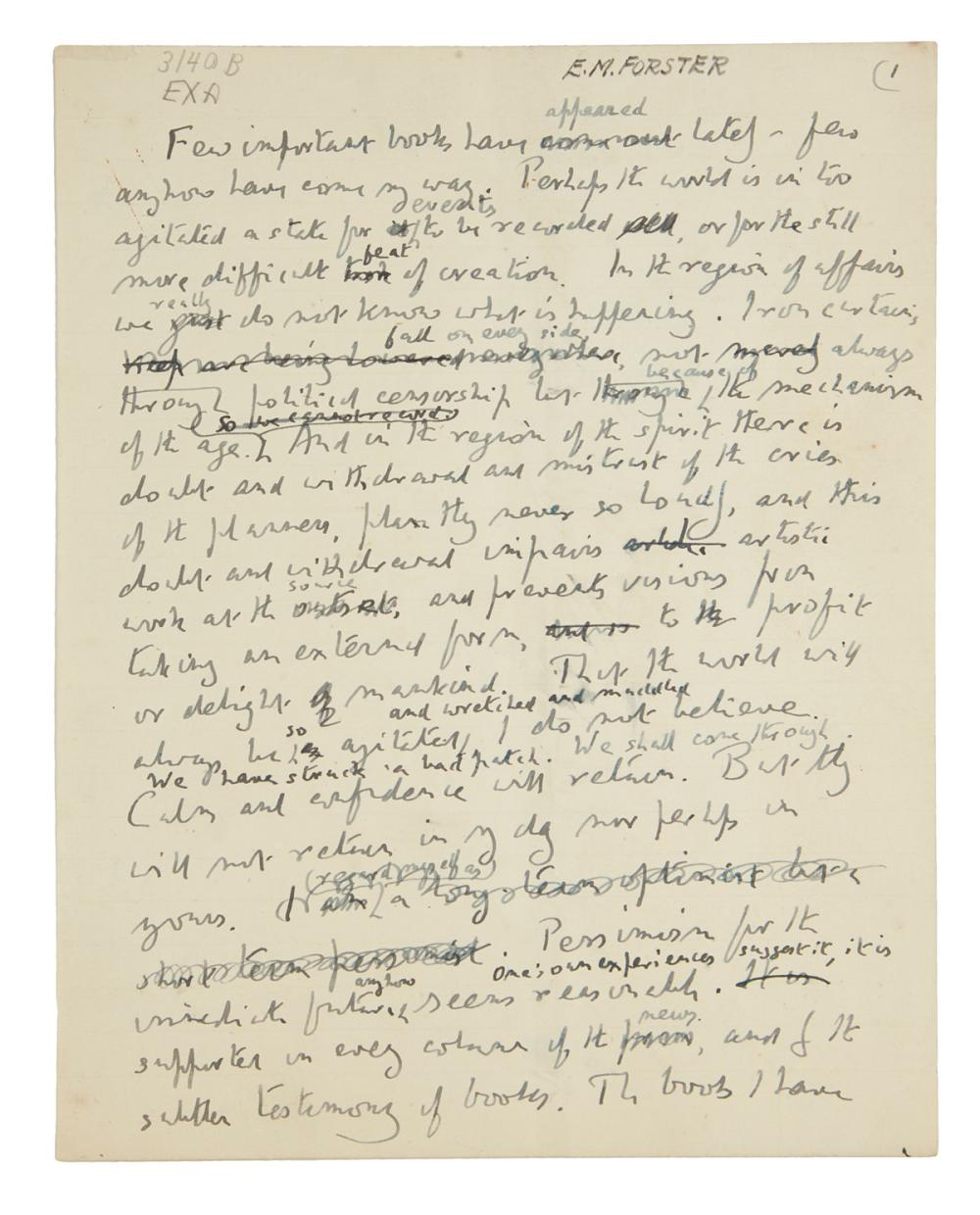 "FORSTER, E.M. Autograph Manuscript, unsigned, working draft of a script for an episode of his ""Some Books"" radio program for BBC,"