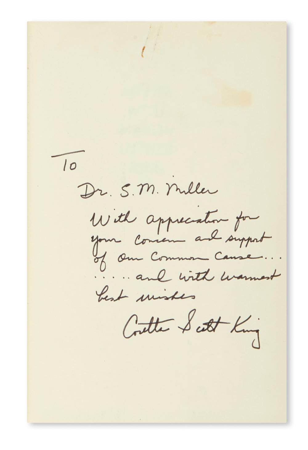 (KING, MARTIN LUTHER; JR.) KING, CORETTA SCOTT. My Life with Martin Luther King, Jr. Signed and Inscribed, on the front free endpaper:
