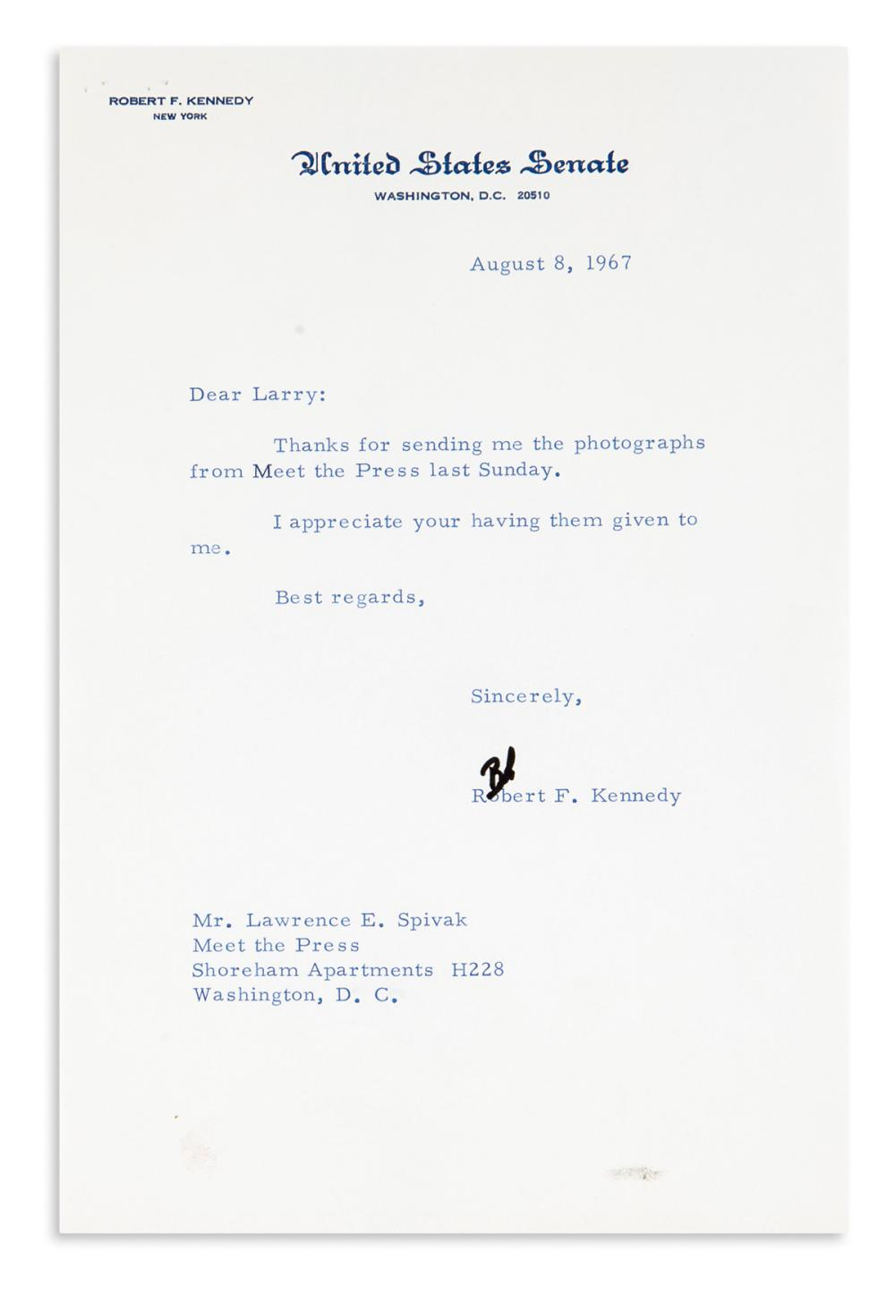 (PRESIDENTS.) Group of 5 Typed Letters Signed, to Meet the Press co-founder Lawrence E. Spivak: Robert F. Kennedy * Richard Nixon (3) *