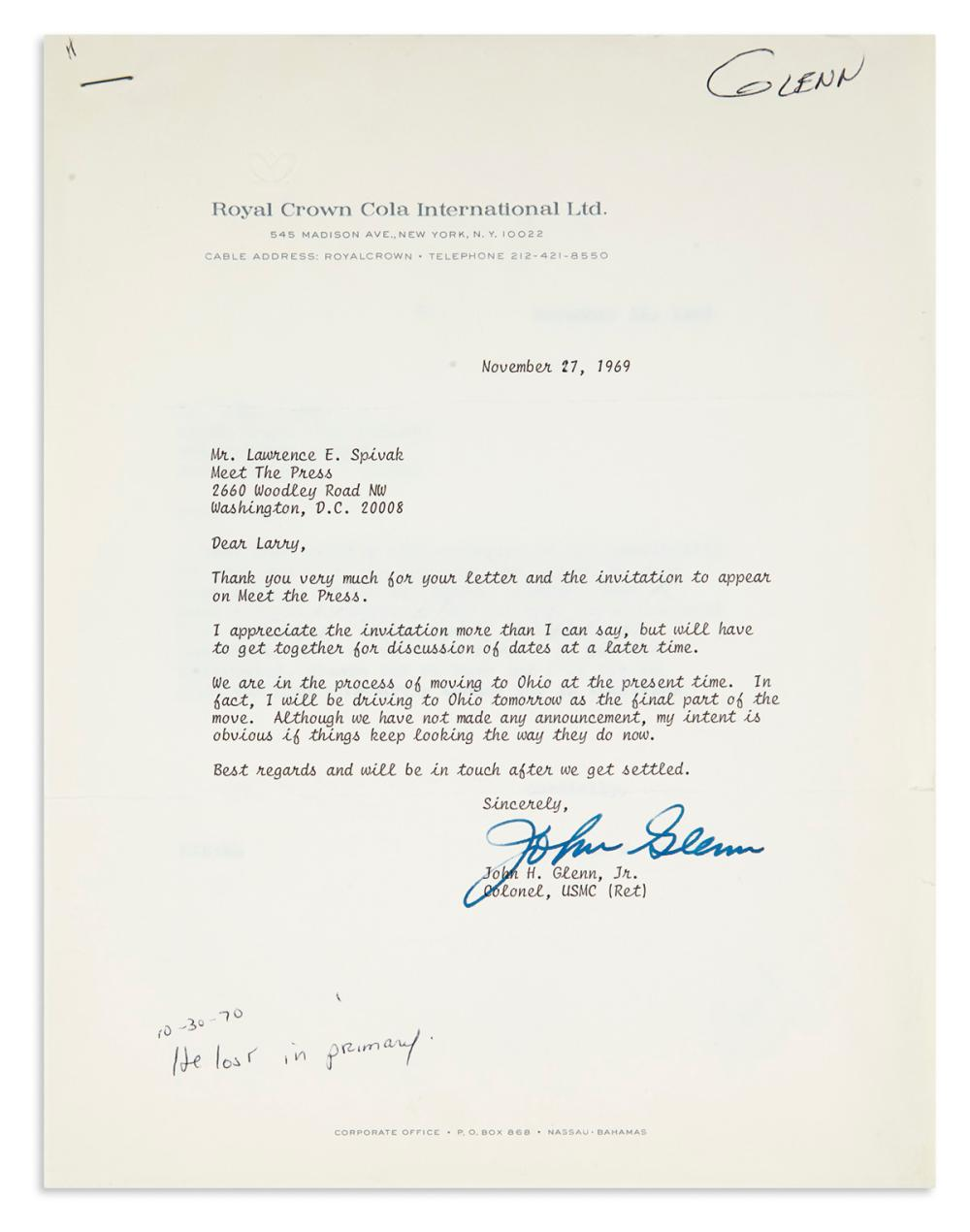 (ASTRONAUTS.) Group of 5 Typed Letters Signed, to Meet the Press co-founder Lawrence E. Spivak: John Glenn (2) * Walter M. Schirra * Fr