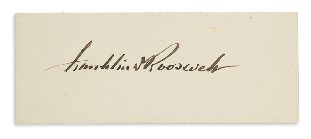 ROOSEVELT, FRANKLIN D. Signature, on a small card.