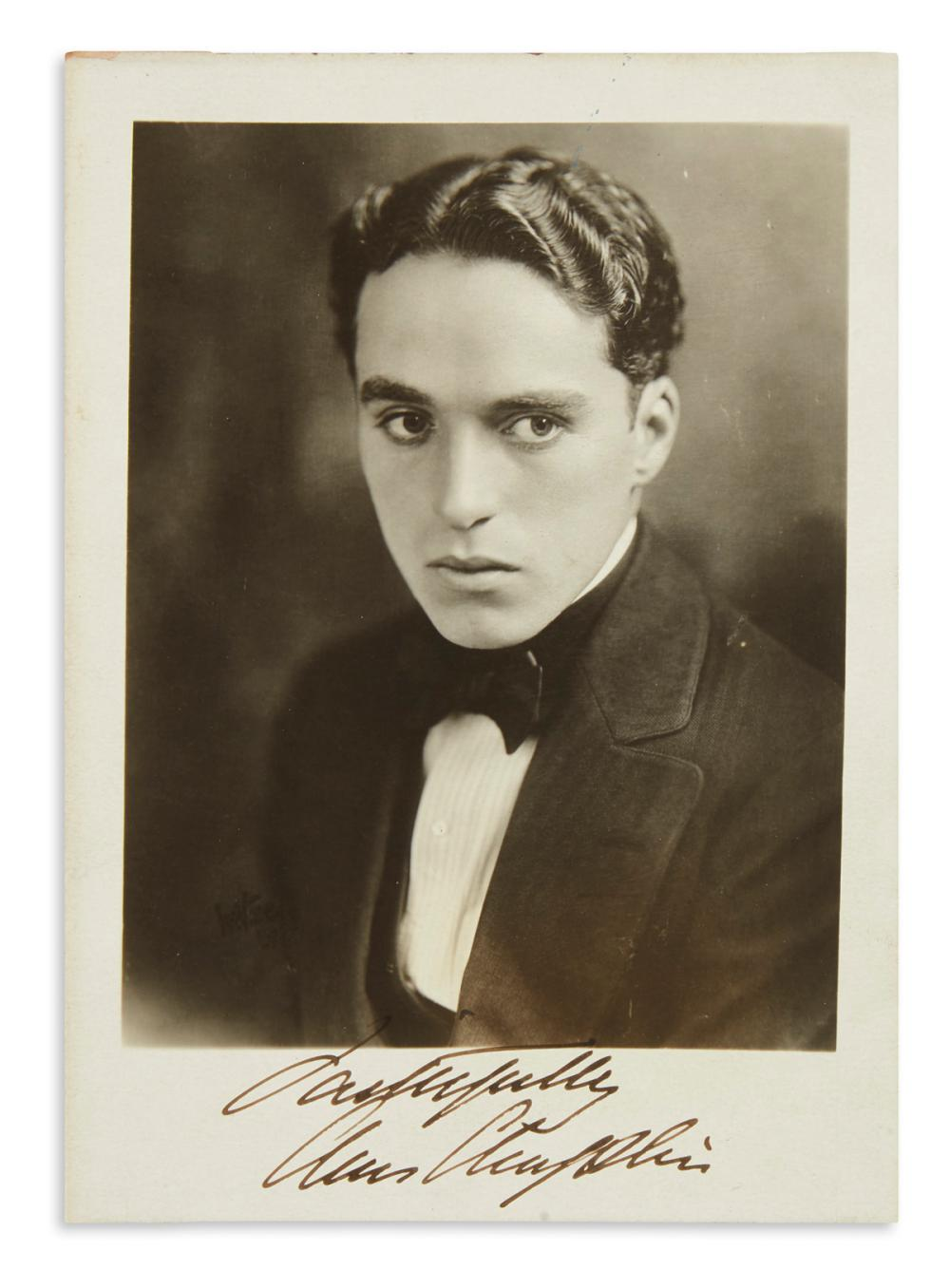 "CHAPLIN, CHARLIE. Photograph Signed and Inscribed, ""Faithfully / Chas Chaplin,"""