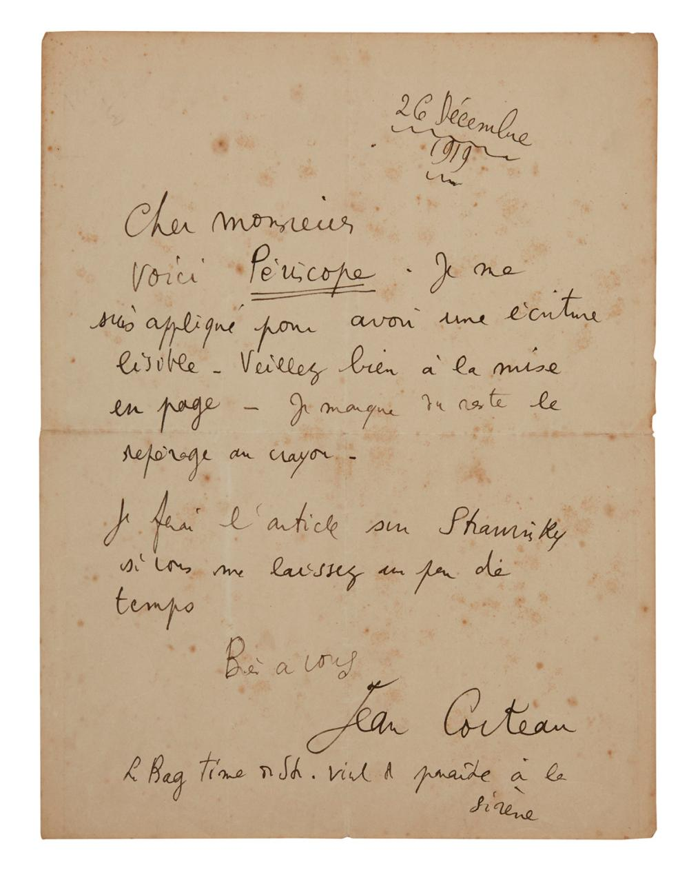 "COCTEAU, JEAN. Autograph Letter Signed, to an unnamed editor or publisher (""Dear Sir""), in French,"