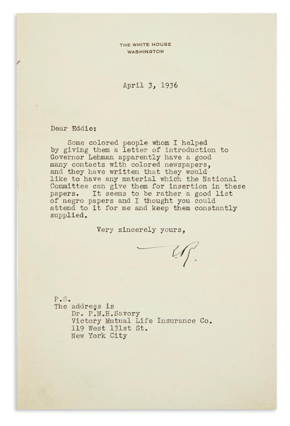 "ROOSEVELT, ELEANOR. Typed Letter Signed, ""E.R.,"" as First Lady, to Assistant Publicity Director of the Democratic National Committee Ed"