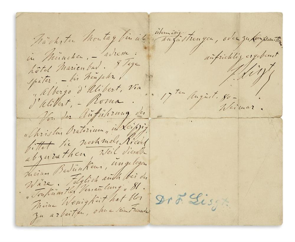 "LISZT, FRANZ. Autograph Letter Signed, ""F. Liszt,"" to the General German Music Association, in German,"
