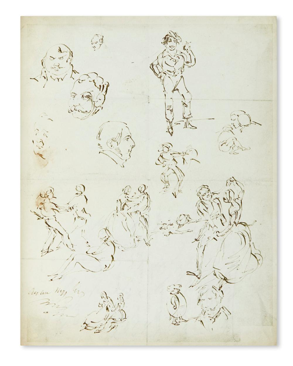 CRUIKSHANK, GEORGE. Over 200 drawings in ink or pencil, 6 Signed, small fragmentary sketches,