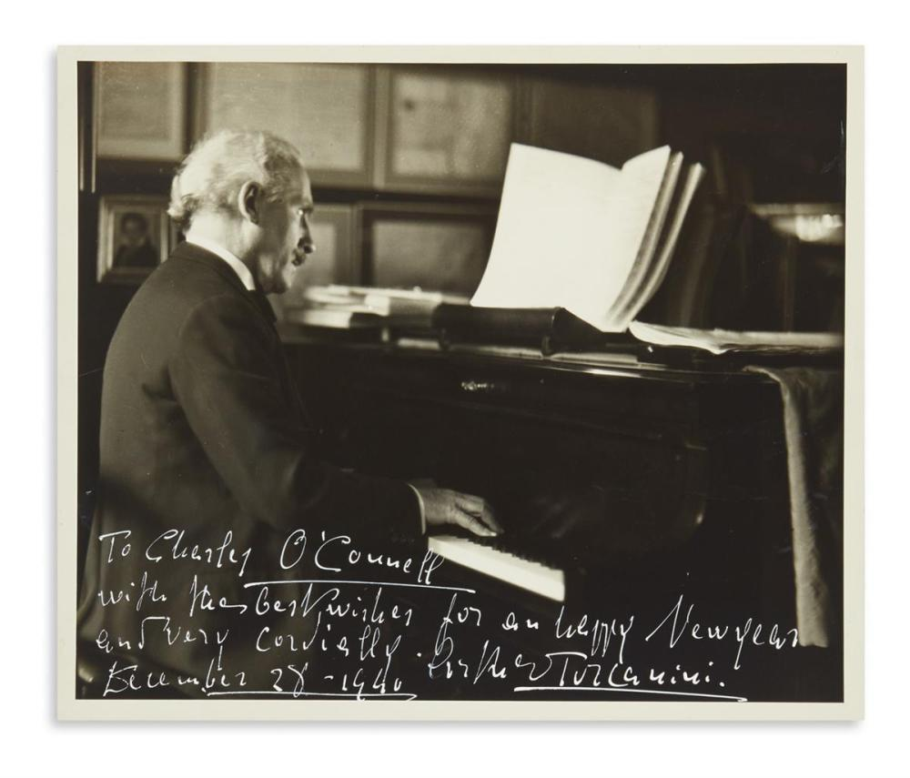 "TOSCANINI, ARTURO. Photograph Signed and Inscribed, ""To Charles O'Connell / with the best wishes for an happy New Year,"""