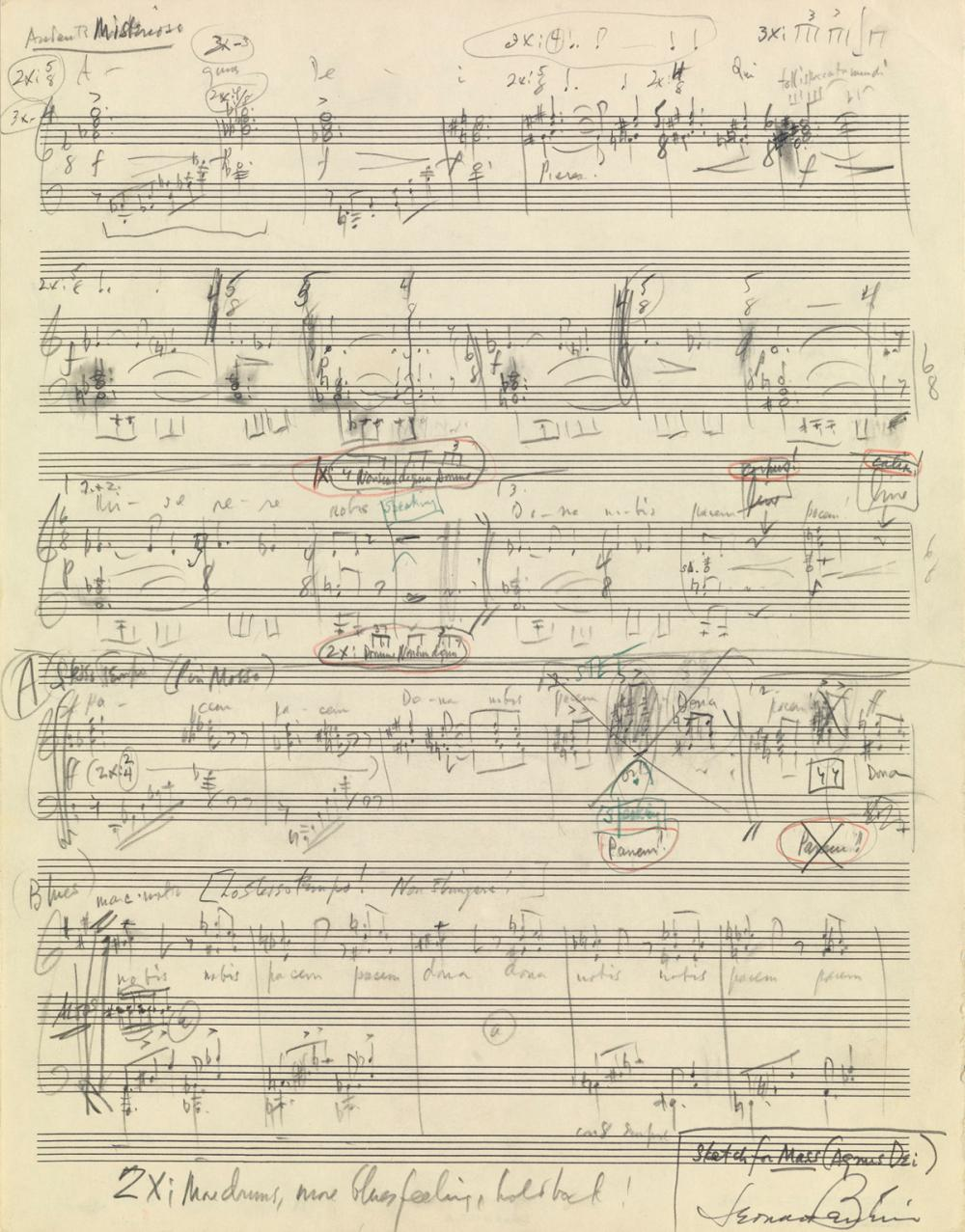 "BERNSTEIN, LEONARD. Autograph Musical Manuscript Signed, sketch for the ""Agnus Dei"" movement from his Mass,"