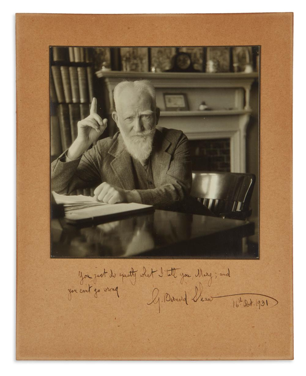 "SHAW, GEORGE BERNARD. Photograph Signed and Inscribed, ""G. Bernard Shaw"":"