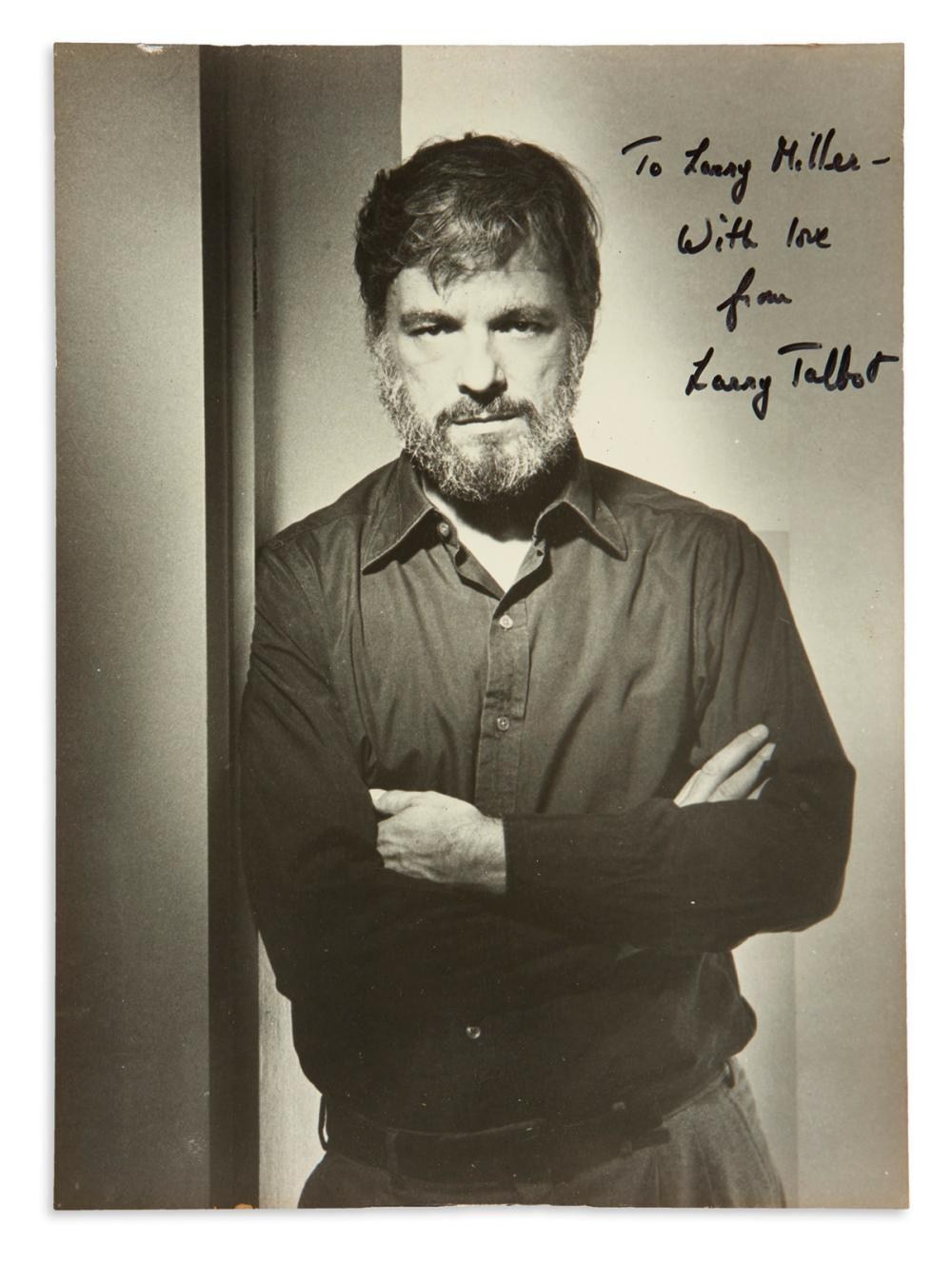 "SONDHEIM, STEPHEN. Photograph Signed and Inscribed, ""To Larry Miller-- / With love / from / Larry Talbot,"""