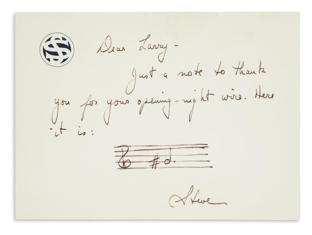 "SONDHEIM, STEPHEN. Autograph Note, with an Autograph Musical Quotation Signed, ""Steve,"" to Larry Miller:"