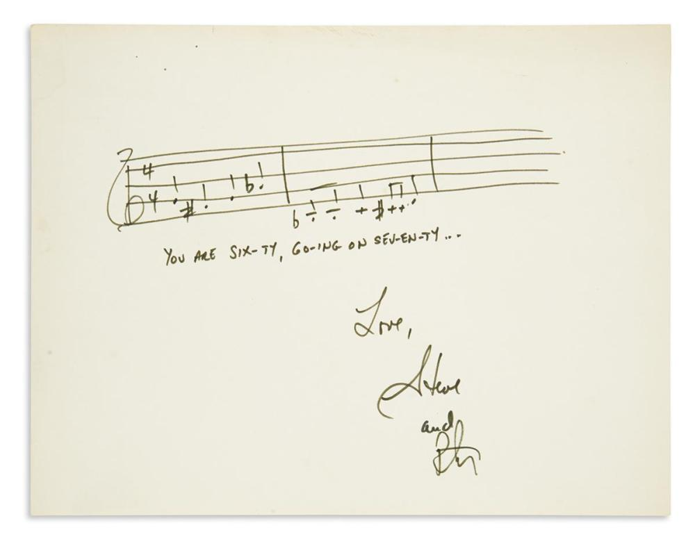 "SONDHEIM, STEPHEN. Autograph Musical Quotation Signed, ""Steve,"" two bars from ""Sixteen Going on Seventeen"""
