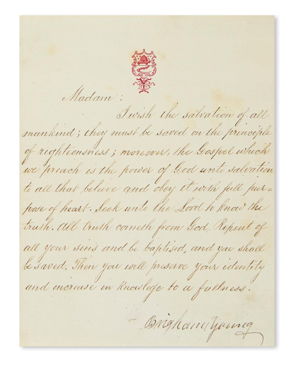"YOUNG, BRIGHAM. Letter Signed, to an unnamed recipient (""Madam""),"
