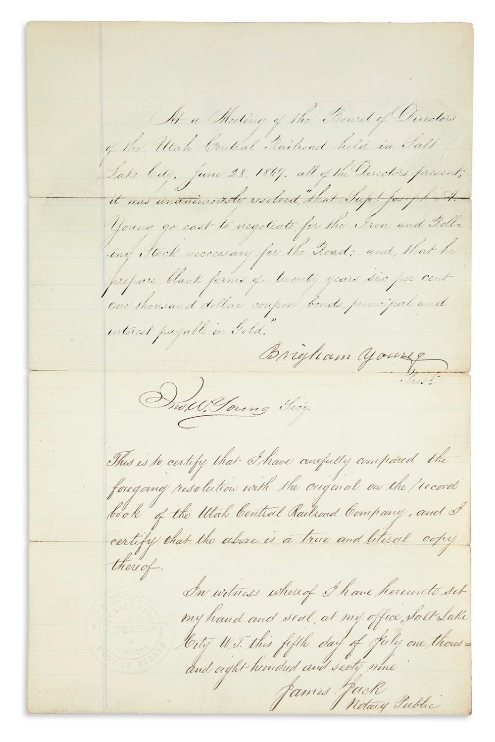 YOUNG, BRIGHAM. Document Signed, as President of the Utah Central Railroad,