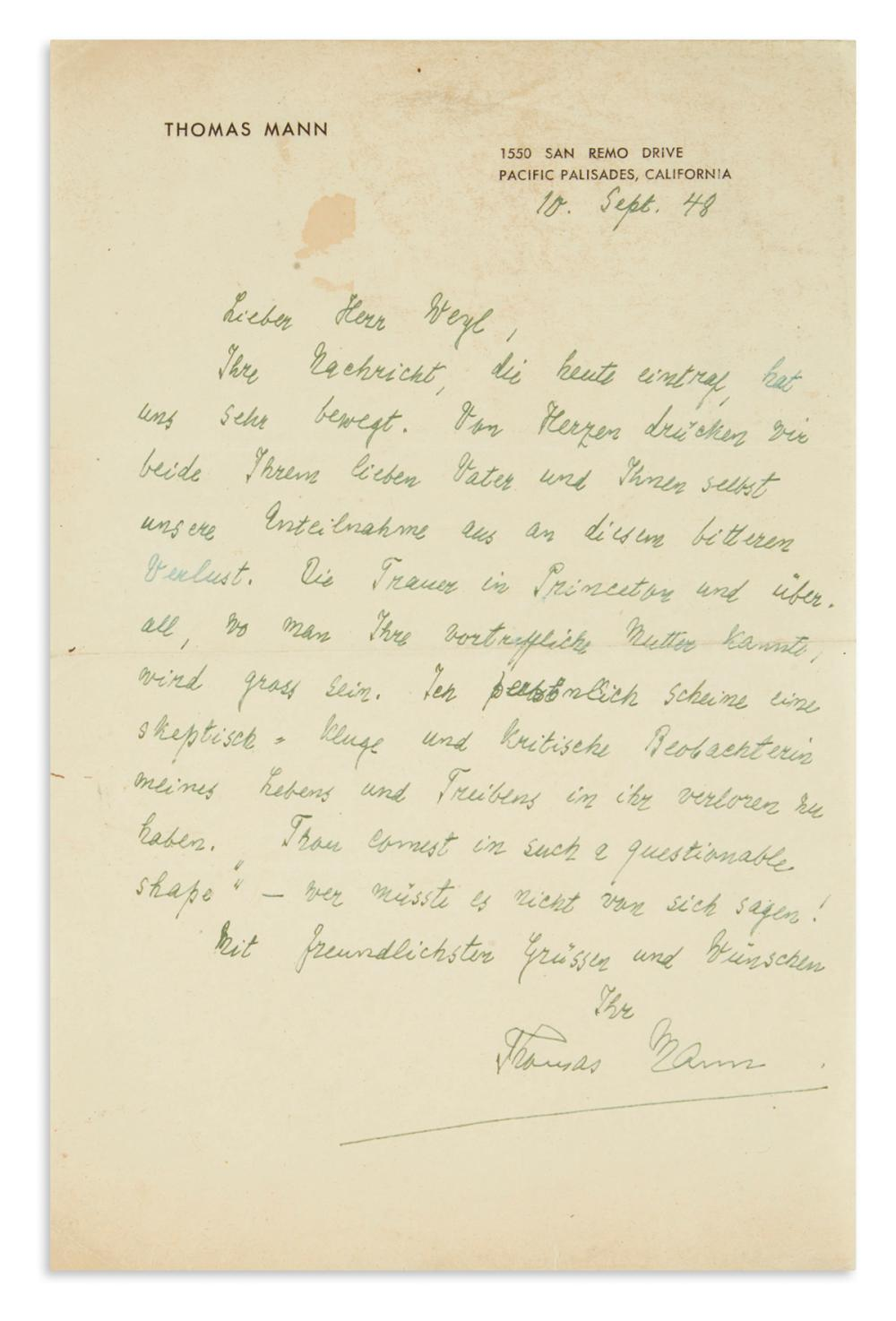 MANN, THOMAS. Autograph Letter Signed, to Michael Weyl, in German and English,