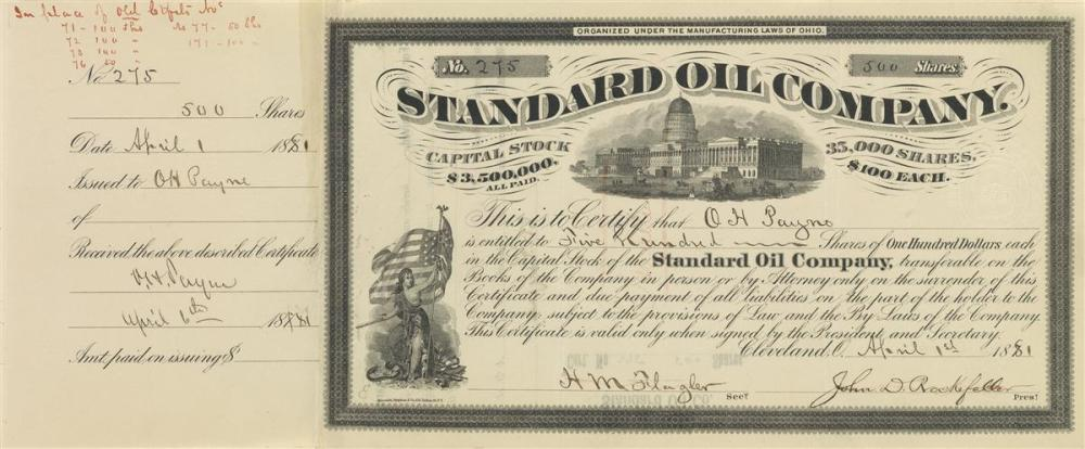 (BUSINESS.) ROCKEFELLER, JOHN D. Partly-printed Document Signed, as President of Standard Oil Company,