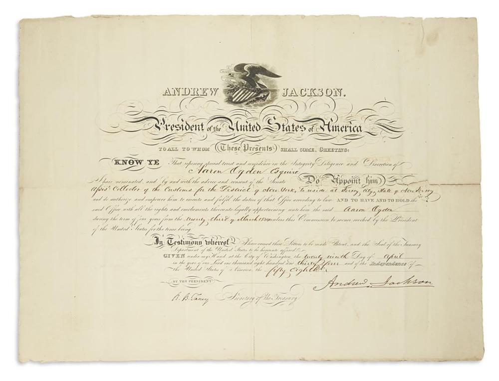 JACKSON, ANDREW. Partly-printed Document Signed, as President, appointing Aaron Ogden Collector of the Customs